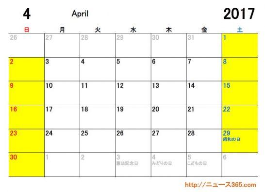 2017年4月ETCカレンダー