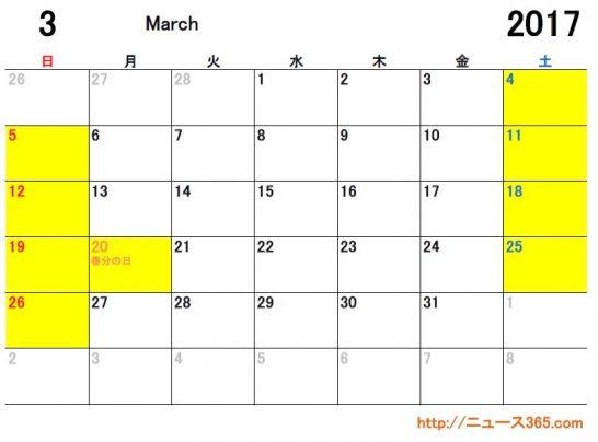 2017年3月ETCカレンダー