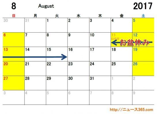 2017年8月ETCカレンダー
