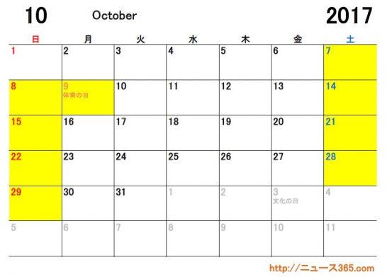 2017年10月ETCカレンダー
