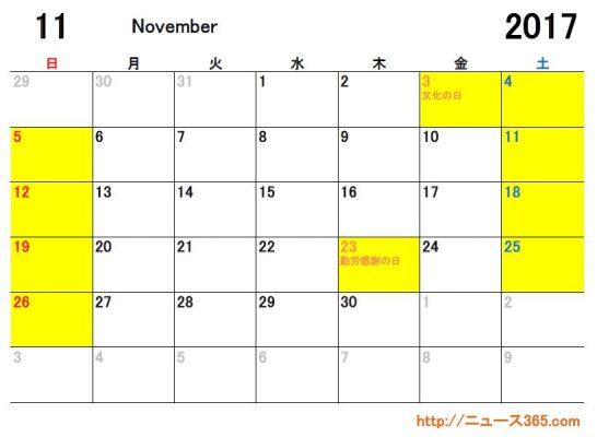2017年11月ETCカレンダー