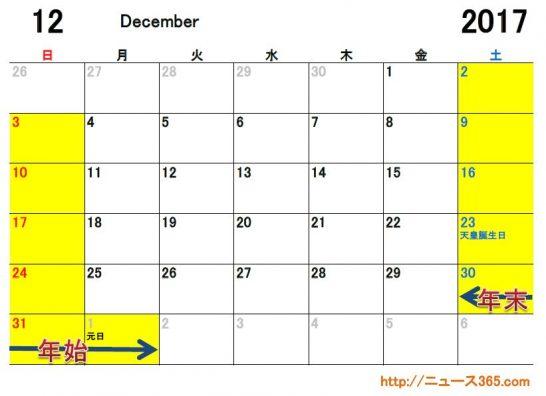 2017年12月ETCカレンダー