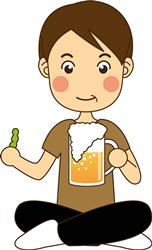 ビールを飲むお父さん