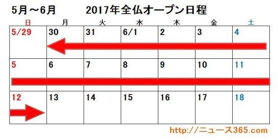 2017年全仏オープン日程カレンダー