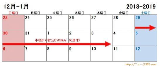 2018年2019年の市役所や官公庁の年末年始の休みカレンダー