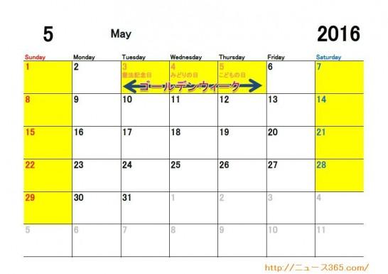 2016年5月ETC休日適用日