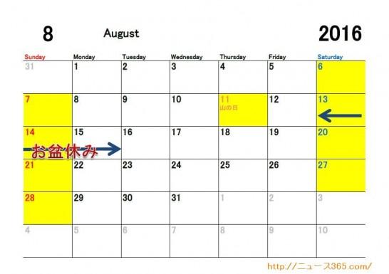 2016年8月ETC休日適用日