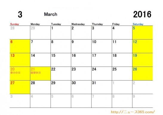 2016年3月ETC休日適用日