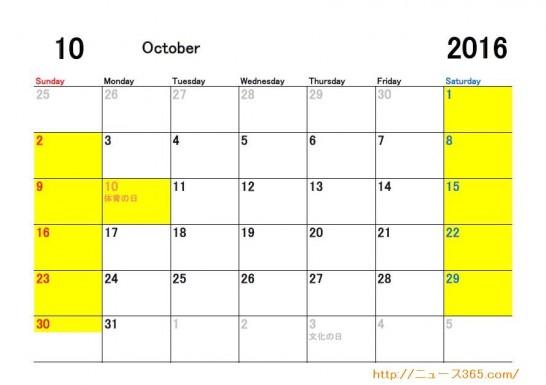 2016年10月ETC休日適用日