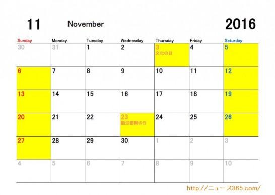 2016年11月ETC休日適用日