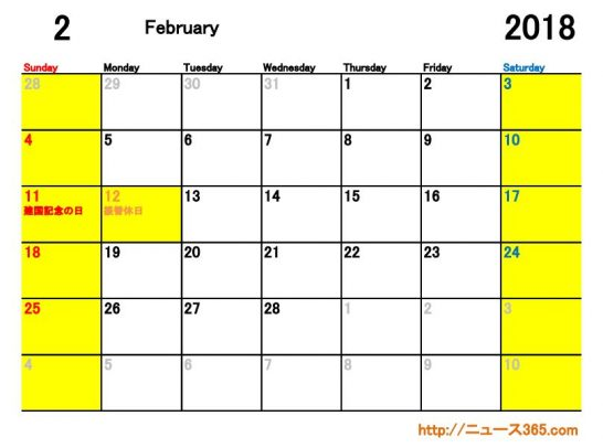 2018年2月ETC休日適用日