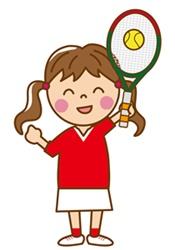 テニスをする娘