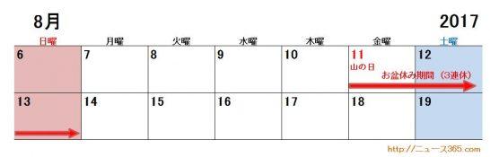 2017年お盆休み(公務員)