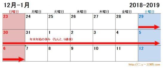 2018年2019年の製造業や大型工場の年末年始の休みカレンダー