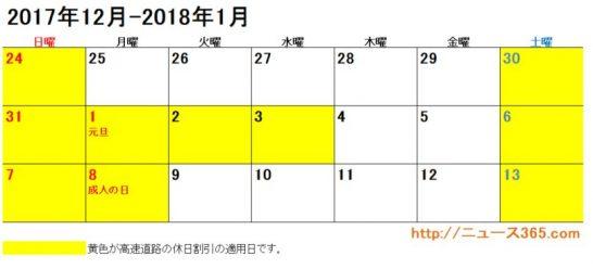 2017年年末年始のETC休日割引適用日カレンダー