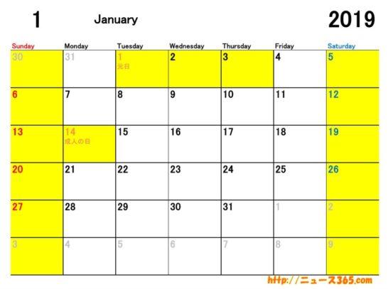 2019年1月ETCカレンダー