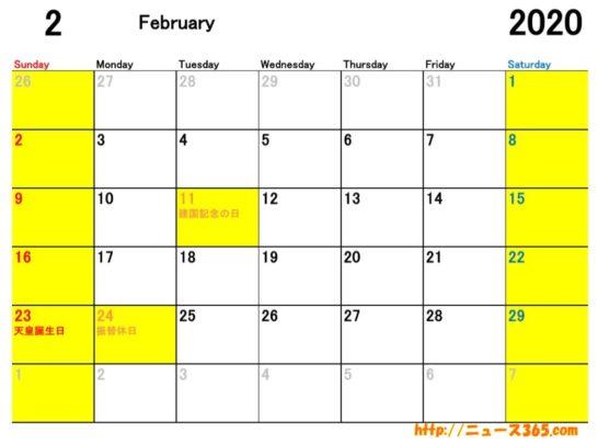 2020年2月ETCカレンダー