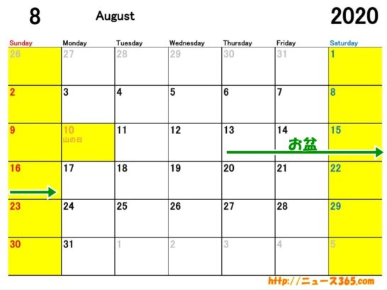2020年8月ETCカレンダー