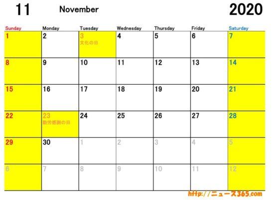 2020年11月ETCカレンダー