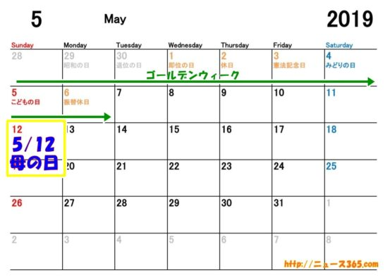 2019年母の日カレンダー