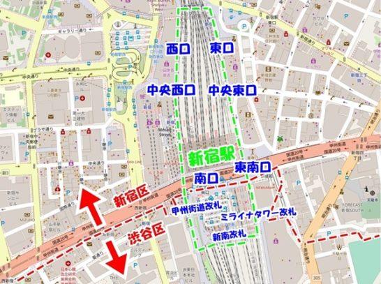 新宿駅改札地図